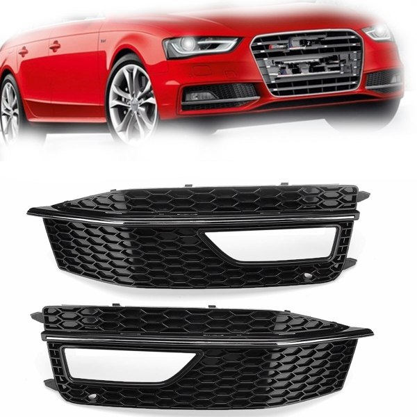 Left/Right Black Car Side Front Bumper Fog Light Grill Grills Grille Cover Replacements For Audi A4 B8 S4 S-line 2012-2015