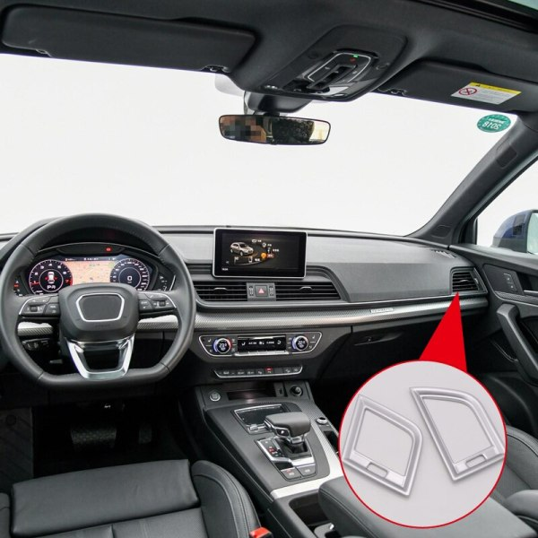 For Left Hand Drive Only! For Audi Q5 2018 ABS Plastic Interior Side Air Vent Outlet Cover Trim 2pcs Auto Accessories
