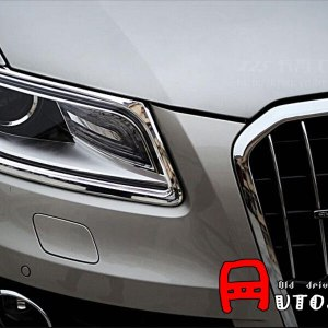 For Audi Q5 2008 2009 2010 2011 2012 2013 2014 2015 ABS Chrome Plastic Front Headlight & Rear TailLight Cover Trim 4pcs Glossy
