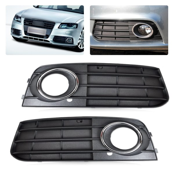 beler 2x High Quality ABS Plastic Right & Left Fog Light Lamp Cover Grille 8K0807681A01C for Audi A4 B8 2008 2009 2010 2011 2012
