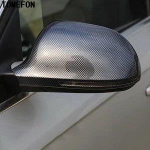 TOMEFON 2pcs For Audi A4L A4 L 2009-2016 ABS Plastic Carbon Fiber Paint Side Rear View Mirror Cover Cap Exterior Accessories