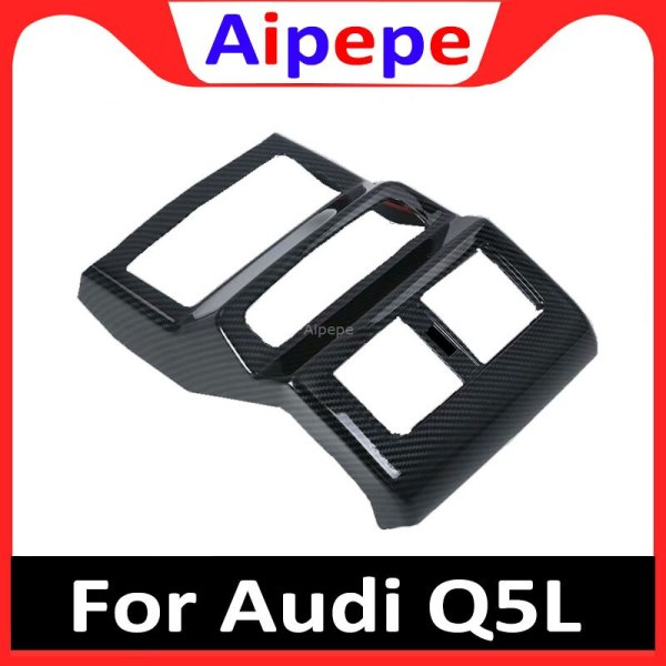 For Audi Q5 2018 2019 ABS Plastic Interior Armrest Box Rear Air Condition Vent Outlet Cover Trim 1pcs Car Styling