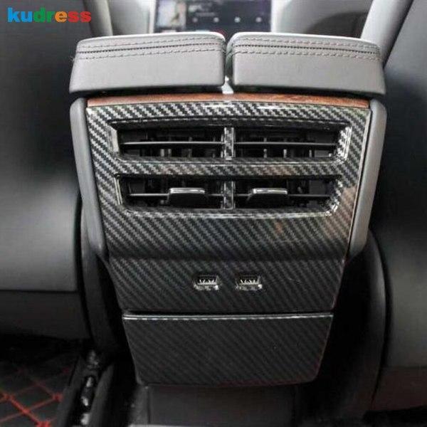 For Tesla Model X 2016 2017 2018 2019 Accesorios Car armrest Box Rear Air Conditioner Outlet Frame Cover Trim Interior Mouldings