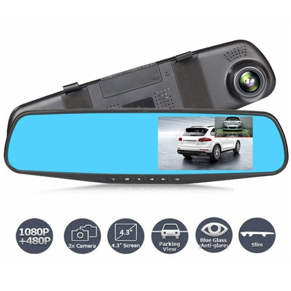 DVR Dual Lens Car Camera Full HD 1080P Video Recorder Rearview Mirror With Rear view DVR Dash cam Auto registrater