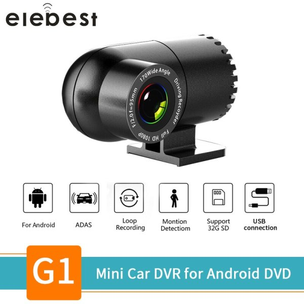 Hidden Car DVR Lens 360 degree rotatable Dash Cam USB Mini Camera ADAS LDWS Auto Digital Video Recorder for Android Multi player