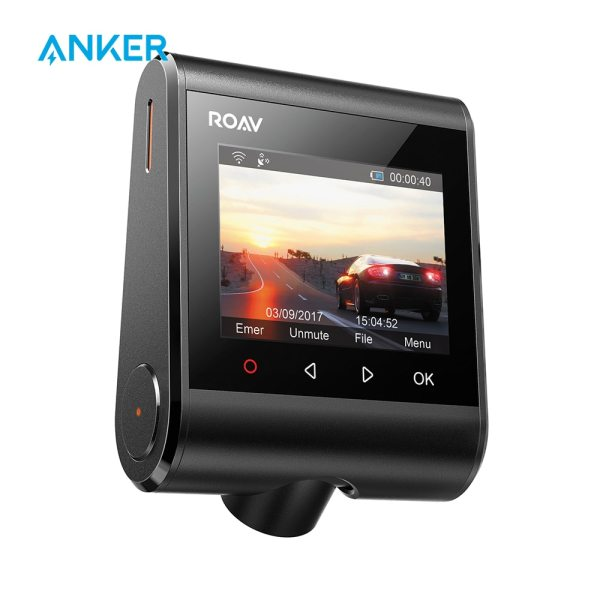 """Roav by Anker Dash Cam C1 Pro 2K Resolution Built-in GPS/WiFi 2.4"""" LCD 4-Lane Wide-Angle View Lens G-Sensor WDR Loop Recording"""