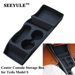 1pc SEEYULE Customized Car Center Console Storage Box Armrest Organizer Bag for Tesla Model S drink holder Container Accessories