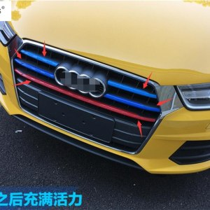 Plastic ! Accessories For Audi Q3 2016 2017 Front Head Face Grille Grill Colorful Lid Decoration Molding Cover Kit Trim 5 Piece