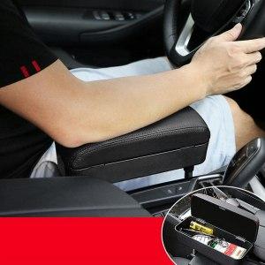 Adjustable Car Seat Gap Filler PU Leather Armrest Storage Box Organizer Holder Arm Elbow Support For Universal Car KVM-21