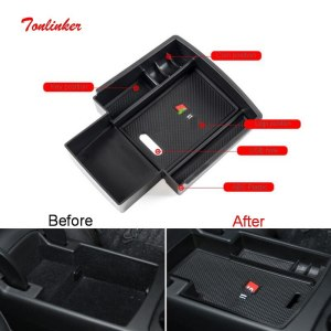 Tonlinker Central Armrest Storage Box Cover Case stickers for AUDI A3/A4L/A5/Q3/Q5 Car Styling 1 PCS ABS Plastic Cover sticker