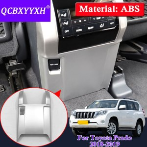 QCBXYYXH For Toyota Prado 2018 Car Styling Armrest box kick-proof sequins Rear cigarette lighter Decoration Cover Accessories