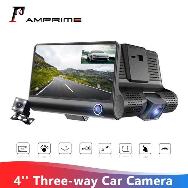 AMPrime 4'' Car Dvr Camera Three Lens auto Video Recorder 170degree Wide Angle Dash Cam Car Camera G-sensor Night vision Dashcam