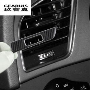 Car Styling Carbon fiber AC Outlet Trim Refit Air Frame Decoration Stickers covers Interior For Audi A4 B8 A5 auto Accessories