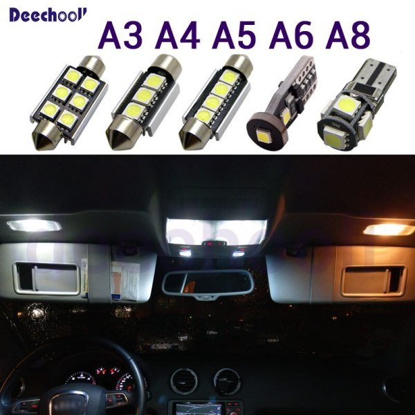 Pure White Canbus LED bulb interior light roof map dome lights Kit for Audi A3 8L 8V 8P A4 B5 B6 B7 B8 A5 A6 C5 C6 C7 A8 D2 D3