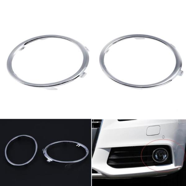 1 Pair Electroplating Car Front Fog Light Trim Cover Automobiles Auto Fog Lamp Molding Rings for Audi A4 B8 09-12 Auto Accessory
