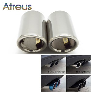 Atreus 2pcs Car Exhaust Tip Muffler Pipe Cover For Audi A4 B8 A3 A1 Q5 Auto Accessories For VW Tiguan Volkswagen Passat B7 CC