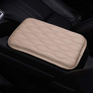 EGBANG Auto Center Console Cover, Console Cover Armrest Pads, PU Leather Car Armrest Seat Box Pad Cushion Protector Universal Fit (Beige)