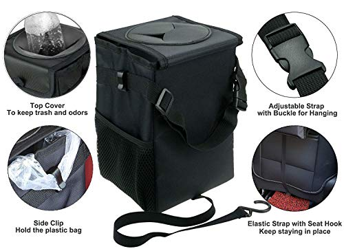 """Trash Bag Hanging with Storage Pockets Collapsible   Compact dimension and Foldable: It measures 6.3"""" Lx9.5""""Hx6.3""""W. Our rubbish bag have 1.85 Gallon/4.5L capability, The size of adjustable strap is Eight to 43 centimeters. When not in use, you may flatten this trash bag and place it between the seats/ within the pocket of the automobile door/ Car Boot. Cowl Storage For Car Garbage: The bag has adjistable strap and elastic strap. These attachments help you grasp it for the entrance or again seats.The straightforward elastic strap ensures no spills, and lets the bag keep in place. Preserve Your Car Clear and Tidy: This automobile rubbish comes with rubber opening mushy lid and Velcro seal, which is closeable and mushy which you can load tissues, fruit pores and skin, bottles with out lifting the lid even conceal waste. Area Saving Car Organizer: Two further sides mesh pockets and entrance cloth pocket are an ideal design that may use for storage something. Put an empty bag inside and use two adjustable aspect clips to carry onto the handles of plastic baggage, simply take away it when full and substitute it. Multi-Operate Design: The within of the automobile trash bin has a water-resistant lining which is sturdy and leak- proof, straightforward to wash and wipes out simply, would not take up an excessive amount of room however it 's foldable and moveable for touring. you should utilize it as a rubbish bag, storage bag, Put an umbrella, drinks and in addition to a journey cooler that may maintain drink and snacks chilly for a very long time.   Specs: Open Dimension: Approx. 6.3"""" Lx9.5""""Hx6.3""""W Folding Dimension: Approx. 6.3"""" Lx9.5""""Hx1.4""""W Outer Materials: Oxford Fabric Internal Materials: Waterproof</p> <p>Bundle Included: 1 x Waterproof Car Trash Can</p> <p>Element Productions: 1: Top quality Oxford materials, washable, sturdy to make use of 2: Adjustable tighten belt for hanging on the headrest 3: Velcro design, straightforward to open for emptying 4: Two aspect the """