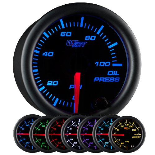 "GlowShift Black 7 Color 100 PSI Oil Pressure Gauge Kit - Includes Electronic Sensor - Black Dial - Clear Lens - for Car & Truck - 2-1/16"" 52mm"