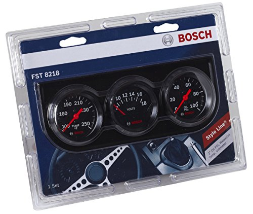 "Bosch SP0F000054 Style Line 2"" Triple Gauge Kit (Black Dial Face, Black Bezel)"