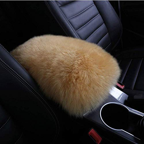 EGBANG Auto Center Console Cover, Console Cover Armrest Pads, Warm Winter Sheepskin Wool Car Armrest Seat Box Pad Cushion Protector Universal Fit (Beige)