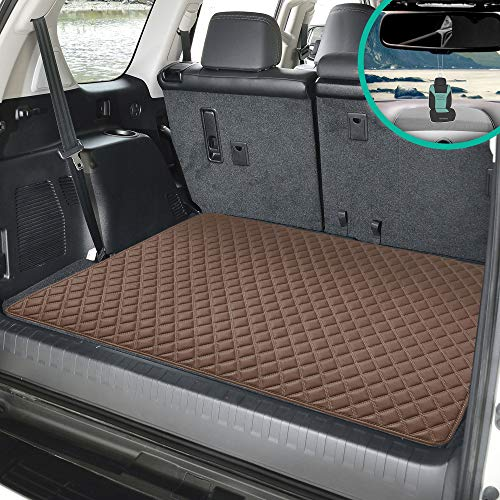 "FH Group F16501 Deluxe Heavy-Duty Faux Leather Multi-Purpose Cargo Liner, Diamond, 32"", Brown Color w. Gift- Fit Most Car, Truck, SUV, or Van"