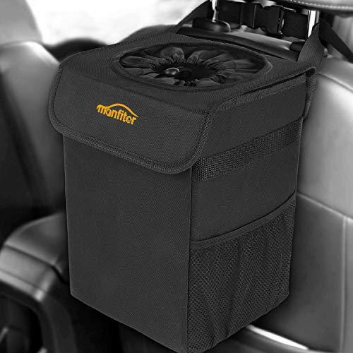 Manfiter Car Trash Can, Auto Car Garbage Can, 100% Leak-Proof Car Organizer, Multipurpose Waterproof Car Trash Bag, Hanging Car Trash Bin (Basic Black)