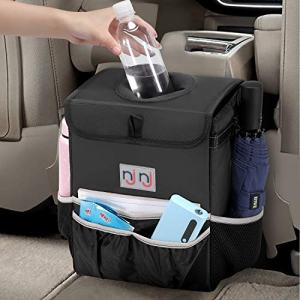 njnj Waterproof Car Trash Can Garbage Bin,Super Large Size Auto Trash Bag for Cars with Lid and Storage Pockets,Leak Proof Vehicle Car Organizer Hanging,Black