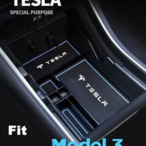 RSZX Car Center Console Organizer Tray for Tesla Model 3 Storage Armrest Box Phone Mount Pocket Sunglass Holder Container (OEM Black) (Upgrade)