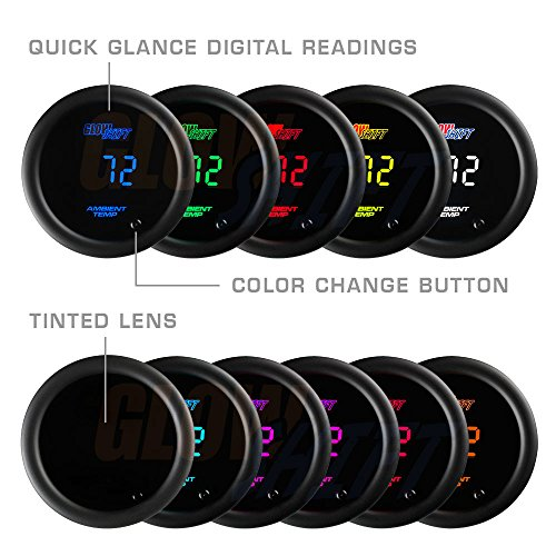 "GlowShift 10 Color Digital Air Temperature Gauge Kit GlowShift 10 Color Digital Air Temperature Gauge Kit - Reads Outside Air Temp from -40-200 Degrees F - Includes Sensor - Multi-Color LED Display - Tinted Lens - 2-1/16"" (52mm)"