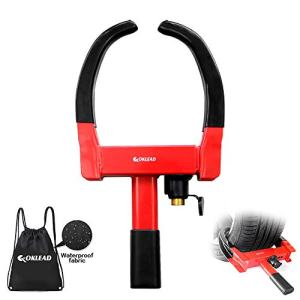 """OKLEAD Anti Theft Wheel Lock - Security Tire Clamp Tire Claw Boot for Atv'S Motorcycles Golf Cart Trailers Boats Max 10"""" Width Tire 2 Keys Red/Black"""