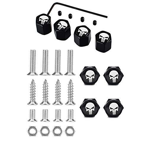 Dsycar Chrome Metal Skull Logo Anti-Theft Car License Plate Bolts Frame Screws- Gift 4 Free Skull Logo Tire Valve Stem Caps (Black-White)