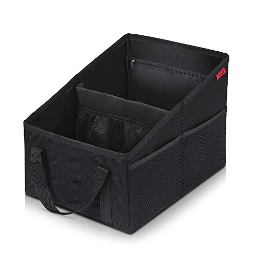 Car Seat Organizer - Passenger Seat Organizer, Collapsible Small Car Seat Storage Organizer for Console Front or Back, Automotive Backseat Organizer with Belt 4 Cup Holders for Kids Accessories Drinks