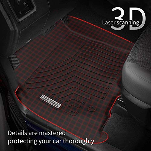 Custom Fit Floor Liners for 2018-2020 Toyota Tacoma Double Cab COOLSHARK Toyota Tacoma Floor Mats, Custom Fit Floor Liners for 2018-2020 Toyota Tacoma Double Cab, Automatic Transmission Only, Full Set Floor Mats All Weather Protection, Black