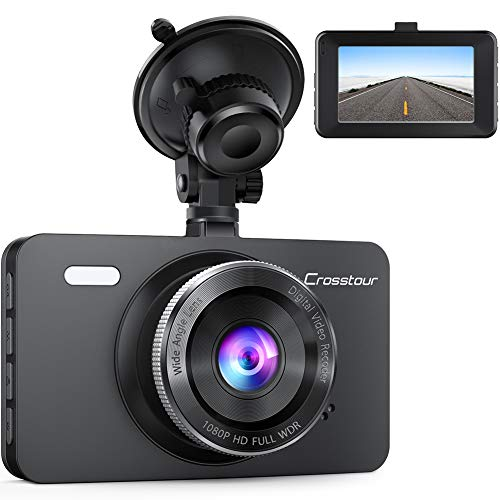 "Dash Cam, Crosstour 1080P Car DVR Dashboard Camera Full HD with 3"" LCD Screen 170°Wide Angle, WDR, G-Sensor, Loop Recording and Motion Detection (CR300)"
