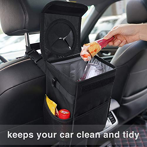Trash Can with Lid and Storage Pockets, 100% Leak-Proof HOUSE DAY Car Trash Can with Lid and Storage Pockets, 100% Leak-Proof Car Organizer, Waterproof Car Garbage Can, Multipurpose Trash Bin for Car - Black 2.4 Gallons