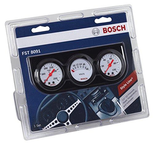 "Bosch SP0F000017 Style Line 1-1/2"" Mini Triple Gauge Kit (White Dial Face, Black Bezel)"