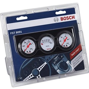 "Bosch SP0F000017 Style Line 1-1/2"" Mini Triple Gauge Kit (White Dial Face, Black Bezel)"