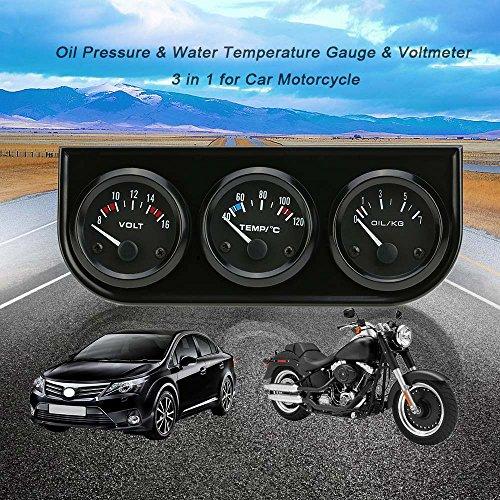 KKmoon 52mm Electronic Triple Gauge Kit, Oil Pressure Water Temperature Gauge, Voltmeter, 3 in 1 Car Motorcycle Meter