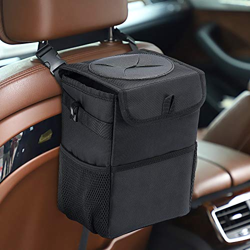 HOUSE DAY Car Trash Can with Lid and Storage Pockets, 100% Leak-Proof Car Organizer, Waterproof Car Garbage Can, Multipurpose Trash Bin for Car - Black 2.4 Gallons