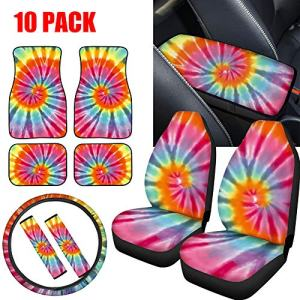 NDISTIN 10PC Fashion Tie-dye Car Seat Covers Full Set with Front Rear Floor Mats,Steering Wheel Cover,Center Console Armrest Cushion Pad,Seat Belt Protector Universal Fit Auto Interior for Women Gift