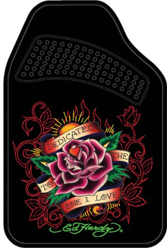 """Ed Hardy """"Dedicated to the One I Love"""" Front Floor Mats 2-pc Set Black Carpet"""