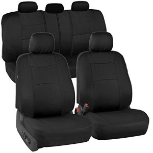 BDK PolyPro Black Car Seat Covers, Full Set - Easy to Install, Front and Rear Bench Seat Protectors, Full Coverage for Car Truck Van and SUV