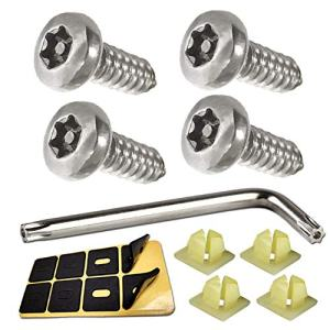 """Anti Theft License Plate Screws - 4 PC Button Head Torx M6 3/4"""" Stainless Steel Tamper Resistant Self Tapping Security License Plate Bolt License Plate Frame Fastener and Wrench, Foam Pads"""