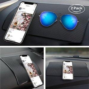 """2 packs of 10.5"""" x 6.2"""" car mats KEKU large car mat dashboard high temperature mats for mobile phones, sunglasses, keys, etc. - Black"""