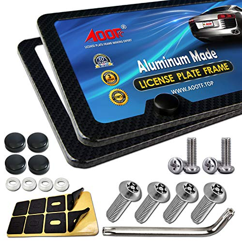 License Plate Frame Carbon Fiber - Aluminum License Plate Frames Printing Carbon Fiber Pattern Cool License Plate Frame and Stainless Steel Anti Theft Plate Screw