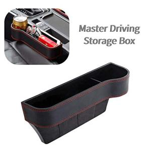 STYLOOC Car Seat Gap Filler,Multi-Purpose Box,PU Leather Seat Console Organizer Pocket, Car Seat Catcher Between Seats Organizer for CellPhones Wallet Coin Key with Cup Holder (1 Pack,Left)