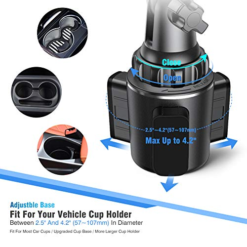 Car Mount with Upgraded Cup Base for iPhone 11 Pro Car Cup Holder Phone Mount, Miracase Universal Cup Phone Holder Cradle Car Mount with Upgraded Cup Base for iPhone 11 Pro/XR/XS Max/X/8/7 Plus/6s/Samsung S10/Note 9/S8 Plus/S7,GPS etc