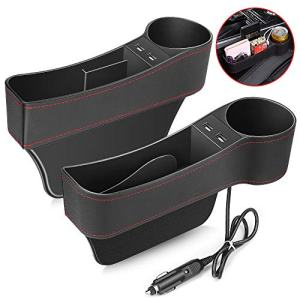 Electop Car Seat Gap Filler, Car Seat Gap Organizer Front Seat with Cup Holder/2 USB Ports, Premium PU Leather Console Side Pocket Car Organizer Car Seat Storage Box (2 Pack)