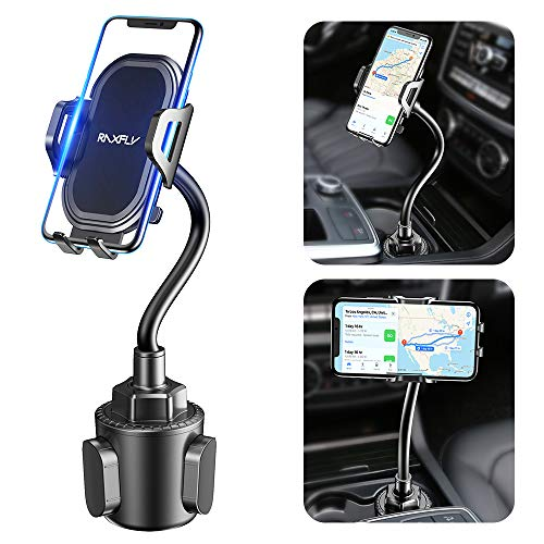 Cup Phone Holder for Car - RAXFLY Adjustable Gooseneck Hands Free Car Cup Holder Phone Mount Universal Compatible with iPhone 11 X XR 7 8 Plus Samsung Note 10 S10 Plus Car Mount Accessories Black